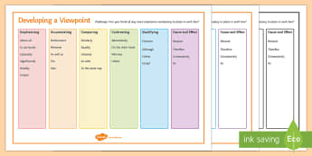 Developing a Viewpoint Word Mat - AQA GCSE Specific Question Resources, structure, language, viewpoint, point of view, develop
