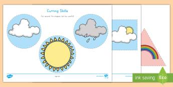Weather Cutting Skills Activity Sheet - fine motor skills, cutting skills, weather, Pre-K weather, kindergarten weather, weather cutting act