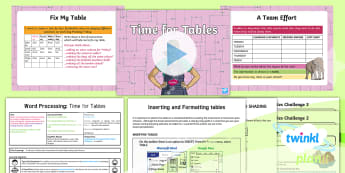 Computing: Word Processing: Time for Tables Year 4 Lesson Pack 4 - table, row, column, cell, shading, border, rota, insert, edit