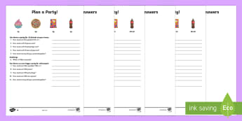Plan a Party Differentiated Money Worksheet / Activity Sheets - NI KS2 Maths Resources, KS1 Resources, word problems, real life problems, decimals, times tables, mu