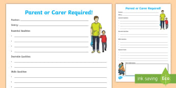 Job Advertisement for a Parent/Carer Activity Sheet - parent, carer, qualities, skills, job, role, advertisement, hWB,Scottish, Worksheet