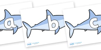 Phoneme Set on Sharks - Phoneme set, phonemes, phoneme, Letters and Sounds, DfES, display, Phase 1, Phase 2, Phase 3, Phase 5, Foundation, Literacy