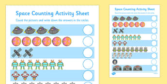 My Counting Worksheet / Activity Sheet(Space) - Counting worksheet, space, counting, activity, how many, foundation numeracy, counting on, counting back, moon, stars, planet, planets, rockets
