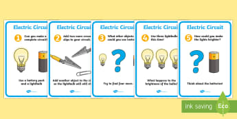 Electric Circuit Activity Sheet Pack (Bulb) - Electric, circuit, worksheet, safety, safe, cards, word card, flashcards, writing aid, power, electricity, battery