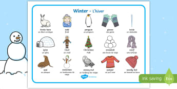 Winter Word Mat English/French  - Winter Word Mat - Winter, word mat, writing aid, topic words, skis, ice skates, polar bear,whale, pe