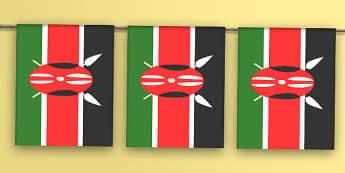 Kenya Flag Bunting - kenya flag, kenya, flag, bunting, display bunting, display