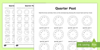 Quarter Past Read and Draw Worksheet / Activity Sheet - NI KS2 Maths Resources, KS1 Resources, time, quarter past, draw, hand, clock, time, past the hour, q