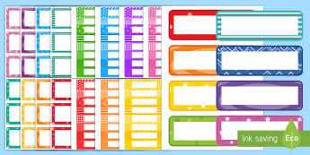 Multicolour Pattern Tote Tray and Peg Labels Resource Pack - coat pegs, cloakroom, coat hooks, pegs, coat pegs