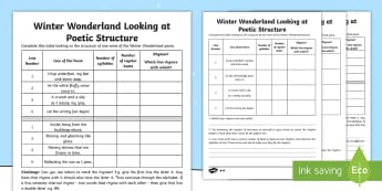 KS2 Winter Wonderland Poetic Structure Differentiated Activity Sheet - Christmas, Poem, Poetry, Alliteration, Personification, Metaphor, Simile, Holidays, Winter, snow, st