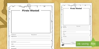 LKS2 Pirate Wanted Poster Activity Sheet - Pirate, Pirates, Wanted, bounty, Flag, pirate display, Display, Posters, Freize, play, pirate, pirat