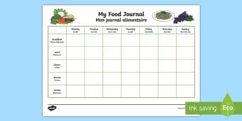 Healthy Eating My Food Journal Activity Sheet English/French - My Healthy Eating Food Journal - healthy eating, healthy eating food journal, food journal, food dia