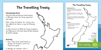 Waitangi Day Worksheet / Activity Sheet The Travelling Treaty - waitangi day, activity, sheet, travel, treaty, worksheet
