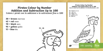 Pirates Colour by Number Addition and Subtraction Up to 100 English/Italian - Pirates Colour by Number Addition and Subtraction Up to 100, +, substraction, adition, coloyur by nu