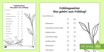 Frühlingswörter erstes Lesen Arbeitsblatt - Frühling, birds, flowers, Easter, spring, Vögel, Blumen,German