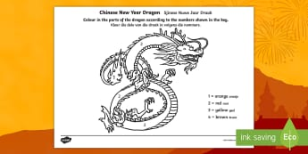 Chinese Dragon Number Colouring Number Activity Sheet English/Afrikaans - January, celebrations, New Year, festival, pencil, crayon, EAL