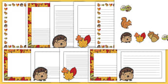 Autumn Page Borders - Page border, border, autumn holiday border.  Autumn, seasons, autumn pictures, autumn display, leaves, acorn, conker, atumn