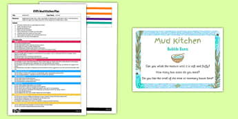 Bubble Buns EYFS Mud Kitchen Plan and Prompt Card Pack - Mud kitchen, EYFS, bubble, buns, plan, planning