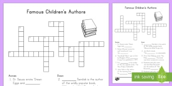 K-2 Famous Children's Authors Crossword - World Book Day, Famous Authors, Literacy, Picture Books
