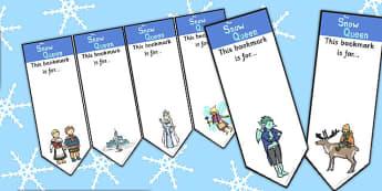 The Snow Queen Editable Bookmarks - edit, activity, activities