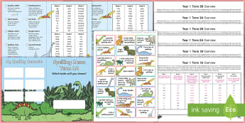 Year 1 Dinosaur Spelling Menu Pack - spag, weekly, lists, gps, home learning