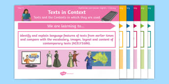 Australian Curriculum English: Year 4 Literacy Content Descriptions Display Posters - Learning Intention, ACARA, WALT, Learning Objective, Learning Goal, Goals, Content Descriptors, Lite