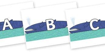 A-Z Alphabet on Whale to Support Teaching on Sharing a Shell - A-Z, A4, display, Alphabet frieze, Display letters, Letter posters, A-Z letters, Alphabet flashcards