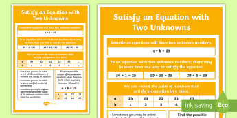 Satisfy an Equation with Two Unknowns Display Poster - working wall, display poster, algebra, equations, missing number, year 6, equations, variable, Pairs