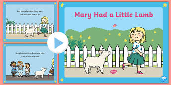 Mary Had a Little Lamb PowerPoint - mary had a little lamb, nursery rhyme, powerpoint