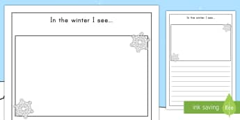 In the Winter I See Writing Template - in the winter, winter, seasons, writing frame, writing template, writing guide, writing aid, line gu