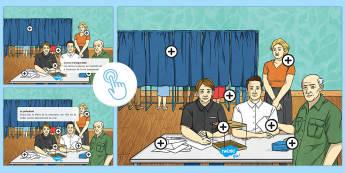 Image à zones interactives : Le bureau de vote - Les élections présidentielles KS2 ,Presidential Elections, 23rd April 17, 23 avril, bureau de vote