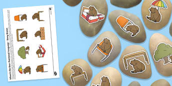 Where's the Bear? Positional Language Story Stones Image Cut Outs - Story stones, stone art, painted rocks, maths, shape, space and measure, positional language, position