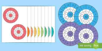 1 to 12 Times Table Wheel Cut-Out Pack - New Zealand, maths, times tables, multiplication, multiply, Year 3, Year 4, age 7, age 8, age 9