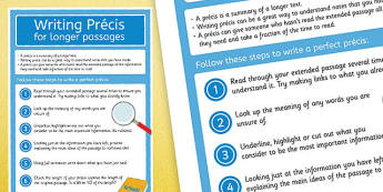 Writing Precis for Longer Passages Display Poster - precis, summary, research, abbreviation, own words, condense, paraphrase