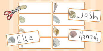 British Seashell Drawer Peg Name Labels - british, seashell
