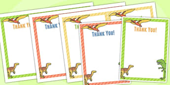 Dinosaur Themed Birthday Party Thank You Cards - dinosaur, party