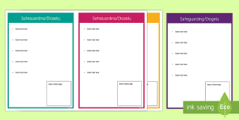 Safeguarding for School Staff Information Cards - safeguarding, ESTYN, Inspection, Safeguarding visit, editable, information cards, information cards