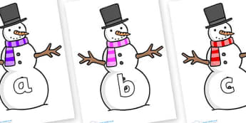 Phase 2 Phonemes on Snowman - Phonemes, phoneme, Phase 2, Phase two, Foundation, Literacy, Letters and Sounds, DfES, display