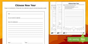 Writing writing frames and templates primary resources page 3 new chinese new year celebration invitation writing template stopboris Images