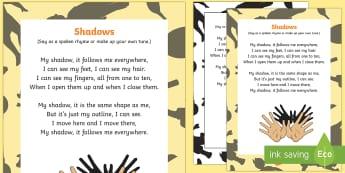 Shadows Rhyme - Light and Dark, shadow, light, light sources, shadows, reflection, science, song, rhythm
