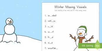 Winter Missing Vowels Worksheet / Activity Sheet - winter, vowels, missing letter, missing vowel, missing sound, word, spell,worksheet