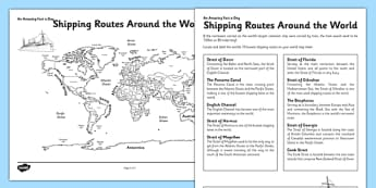 Shipping Routes around the World Worksheet / Activity Sheet - shipping routes, world map, worksheet