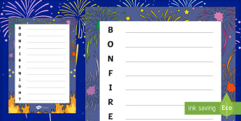 Bonfire Night Acrostic Poem Template -  Bonfire Night Acrostic Poem Template, poem, template, Acrostic, poetry, rhyme, creative, bonfire night, bonfire, Guy Fawkes, bonfire, Houses of Parliament, plot, treason, fireworks, Catholic, Protestant, James