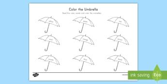 Color the Umbrella Activity Sheet - Weather, Umbrella, Color words, activity sheet, pre-k weather, worksheet, pre-k kindergarten, umbrel