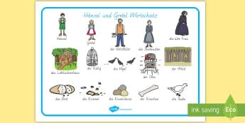 Hänsel und Gretel Wortschatz: Querformat - Hänsel und Gretel, Märchen, Wortschatz, DAF,German