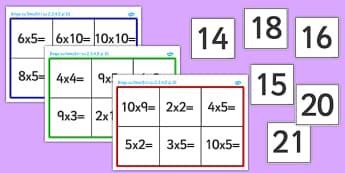 Bingo, Tabla inmultirii cu 2, 3, 4, 5 si 10 - joc