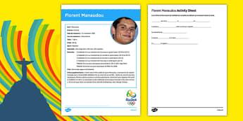 French Olympic Athletes Florent Manaudou Gap Fill Activity Sheet, worksheet
