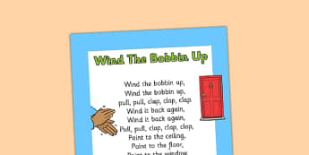 Wind the Bobbin Up Nursery Rhyme Print Out - wind the bobbin up, nursery rhyme, print out