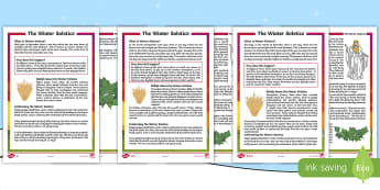 Winter Solstice Differentiated Reading Comprehension Activity - Pagan, Druid, Yule, Christmas, Seasons, Earth, Orbit, beliefs