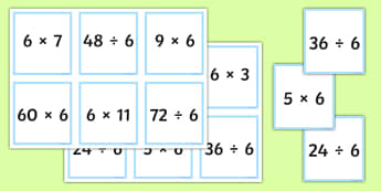 Multiplication and Division Facts for the 6 Times Table Matching Cards - multiplication, division, facts, times table, times tables, 6, matching cards