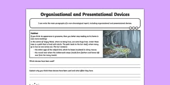 Jabberwocky: Organisational and Presentational Devices Activity Sheet , worksheet